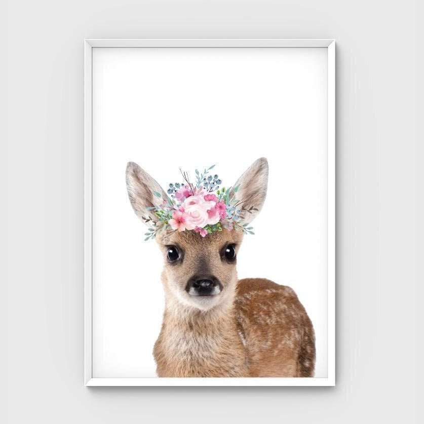 Print - Flower Crown Deer - Pastel