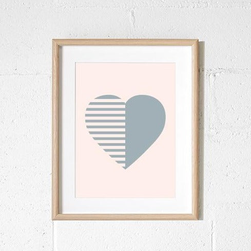 A3 Print - Stripey Heart Blush