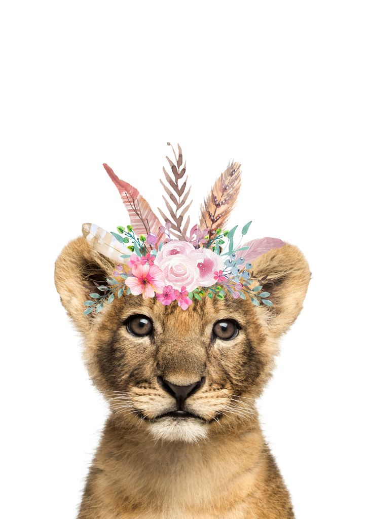 Print - Flower Crown Lion - Pastel