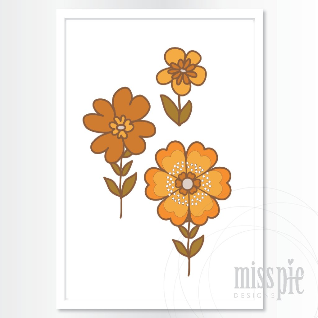 Print - Retro Flowers - Orange