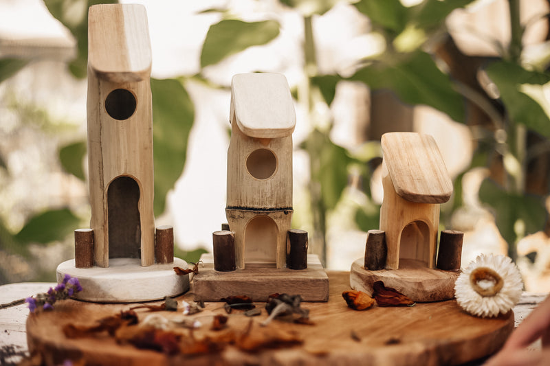 Bamboo Fairy Houses - Set of 3