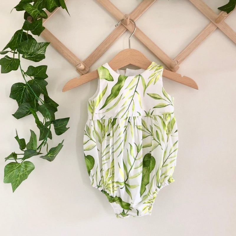 Baby Tea Romper - Tropical Leaves