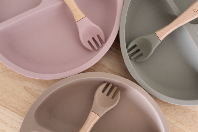 Silicone Suction 'Your Plate + Fork' Set - Dusty Sage