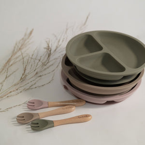 Silicone Suction 'Your Plate + Fork' Set - Rose