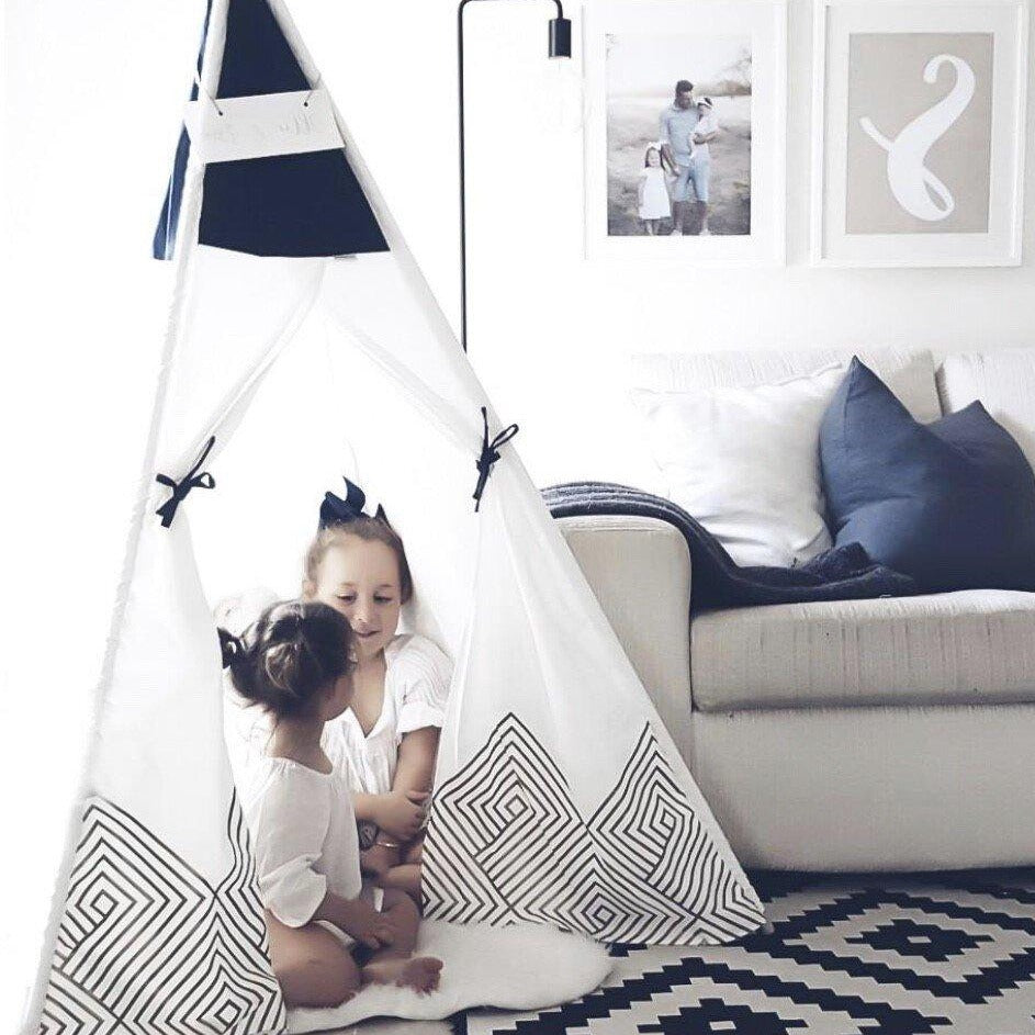 Teepee Tent - Gold Cloud (Navy Blue)
