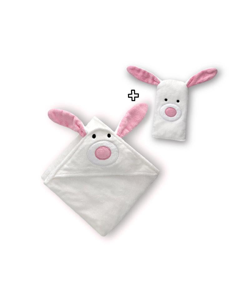 Bamboo Hooded Towel & Mitten - White Bunny