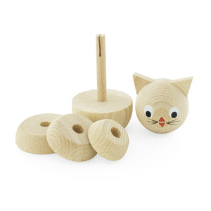 Wooden Stacking Puzzle Cat Raw - Whiskers