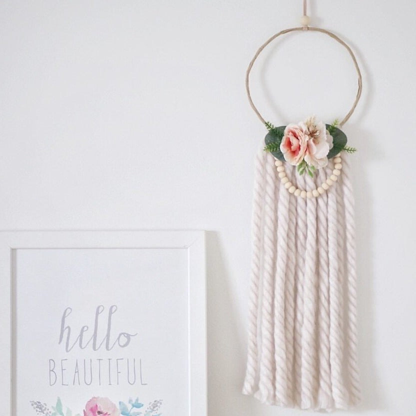 Wreath - Mini - Soft Apricot Floral with Beads (Ivory Tassels)