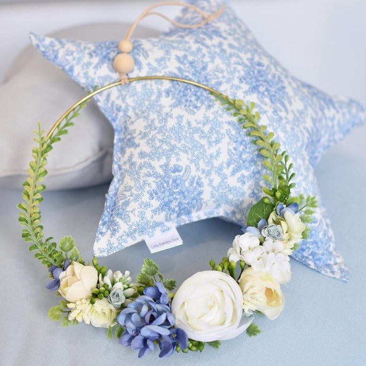 Wreath - Large - Blue & Cream Florals