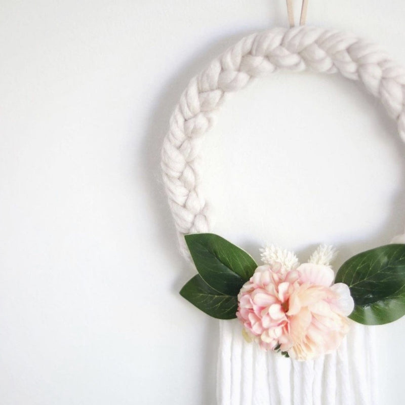 Wreath - Braided - Pink/Apricots - White Tassels