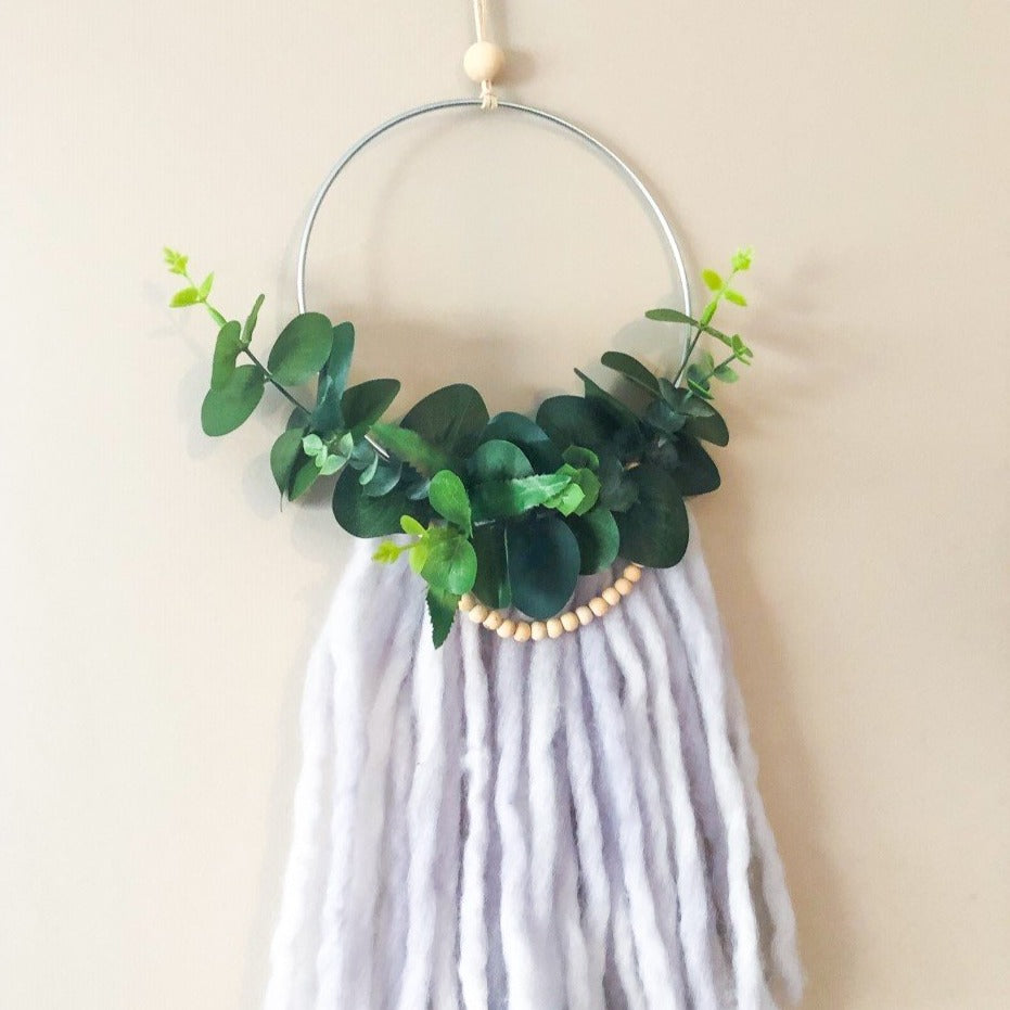 Wreath - Large - Greenery with Beads (Soft Grey Tassels)