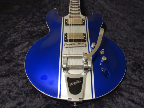 DBZ Diamond Imperial AB w/ Bigsby Vibrato Bridge & Alligator Case - Blue w/ Silver Stripes