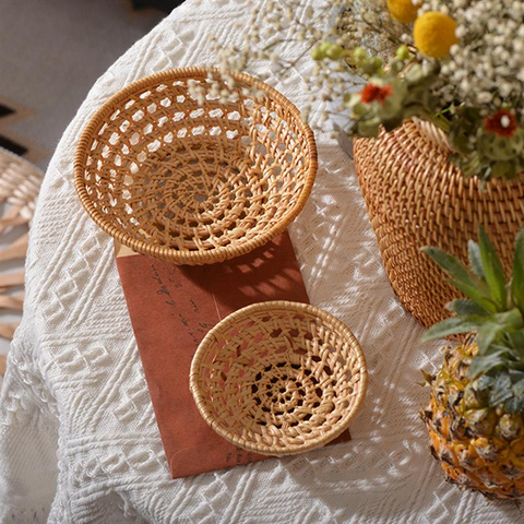 1pc Woven Basket Hand-Woven Vegetable Basket Hollow Out Storage Holder Dried Fruit Cake Organizer Kitchen Storage Basket