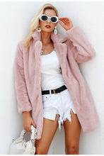 Load image into Gallery viewer, Pink Shaggy Women Faux Fur Coat