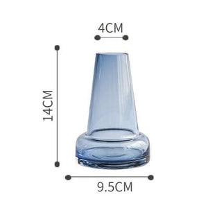 Blue Gray Transparent Glass Vase