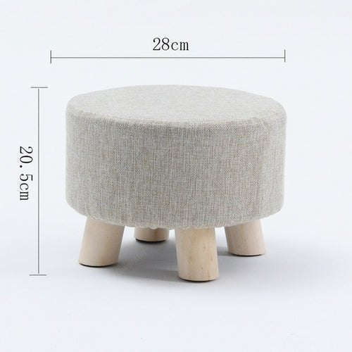 Nordic Round Fabric Stool Wooden Leg Pattern Modern Fashion Wood Small