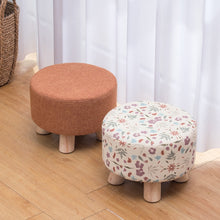 Load image into Gallery viewer, Nordic Round Fabric Stool Wooden Leg Pattern Modern Fashion Wood Small