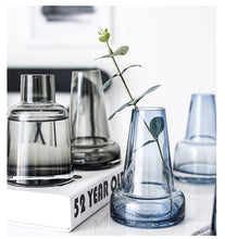 Load image into Gallery viewer, Blue Gray Transparent Glass Vase