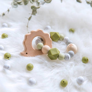 Natural Wood Teether With Silicone Beads
