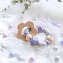 Load image into Gallery viewer, Natural Wood Teether With Silicone Beads