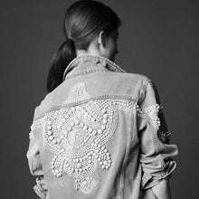 Load image into Gallery viewer, Pearls Embellished Denim Jacket for Women