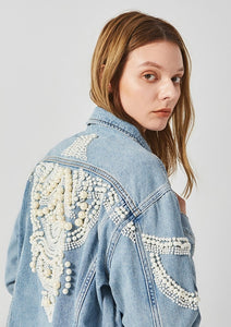 Pearls Embellished Denim Jacket for Women