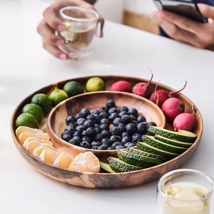 Wooden Plate for Snacks, Fruits, Candy and Appetizers