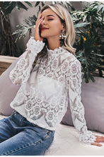 Load image into Gallery viewer, Elegant White Lace Blouse Shirt