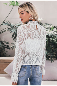Elegant White Lace Blouse Shirt