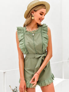 Elegant Ruffle Sleeveless Women Playsuit