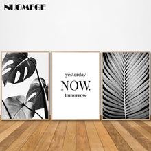 Load image into Gallery viewer, Black and White Wall Art Poster Palm Leaf Print Motivational Quotes Canvas Painting Scandinavian Style Wall Picture Decoration