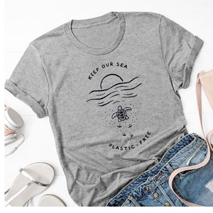 Keep Our Sea Plastic-Free T-Shirt | Women Protect Ocean Tees