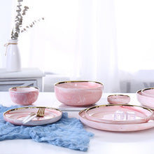 Load image into Gallery viewer, Pink Marble Ceramic Dinner Set