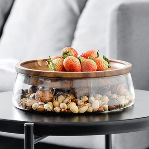 Double Layer Snack Storage with Wooden Lid