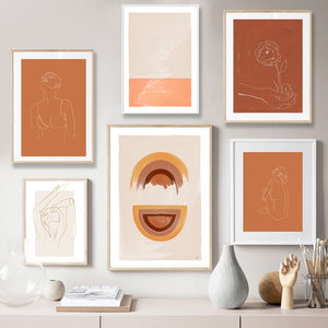 Minimalist Boho Style Orange Line Sketching Painting