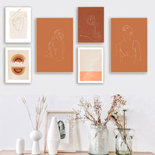 Load image into Gallery viewer, Minimalist Boho Style Orange Line Sketching Painting