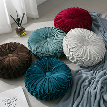 Load image into Gallery viewer, Velvet Pleated Round Floor Cushion