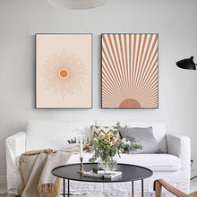 Load image into Gallery viewer, Lively Boho Sun Wall Art Line Print