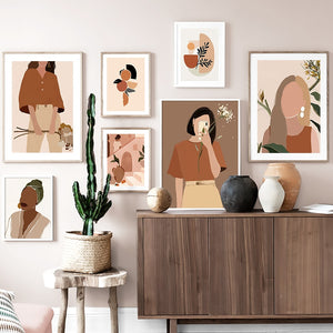 Nordic Wall Art Prints of Women in Orange