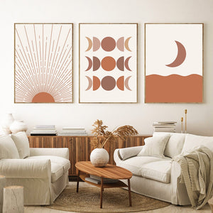 Beautiful Sun Moon Bohemian Wall Art in Orange