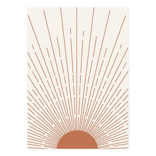 Load image into Gallery viewer, Beautiful Sun Moon Bohemian Wall Art in Orange