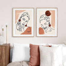 Load image into Gallery viewer, Portrait and Butterfly Nordic Style Lines Wall Art