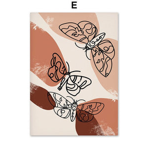 Portrait and Butterfly Nordic Style Lines Wall Art