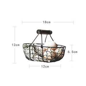 Vintage Wrought Iron Storage Basket Kitchen Fruit Bread Basket (##)