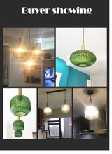 Load image into Gallery viewer, Hanging lamps with Electroplated gold green glass (##)