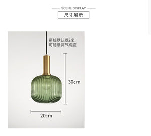 Hanging lamps with Electroplated gold green glass (##)