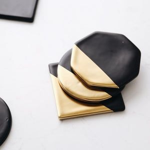 Black and Gold Ceramic Cup Pads