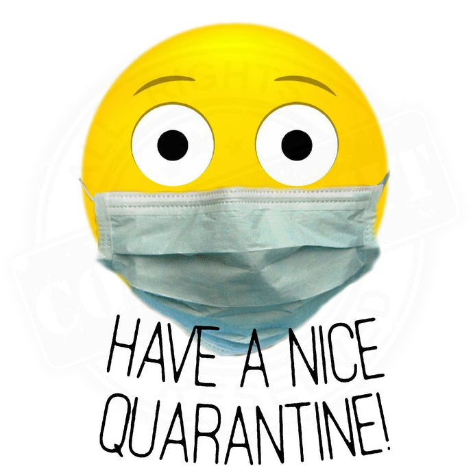 Have A Nice Quarantine Logo with masked emoji icon