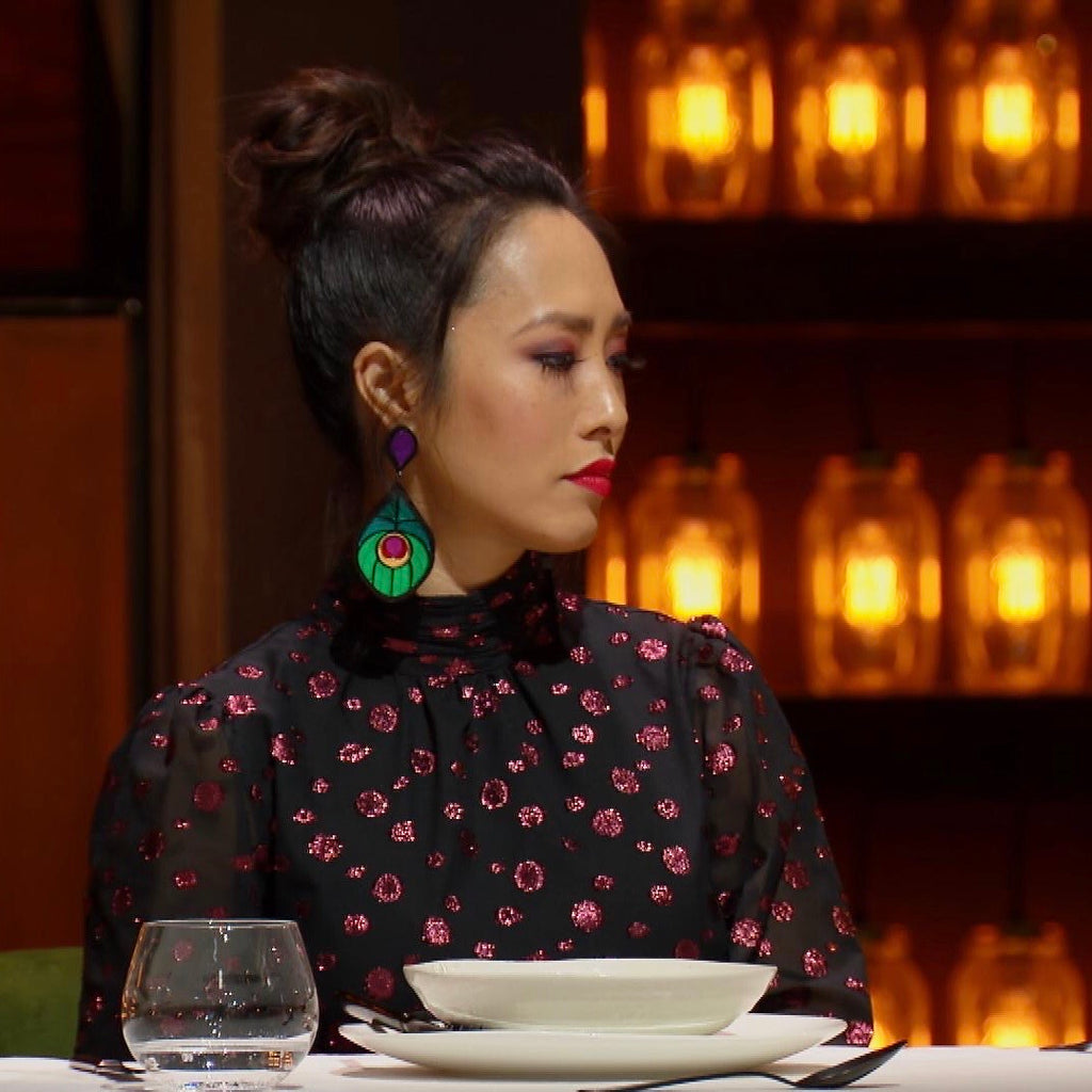 Melissa Leong wore our Perfectly Peacock Statement Dangles on MasterChef Australia