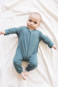 Tiny Button Apparel - Baby Zip Up Romper - Mirage